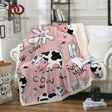 BeddingOutlet Pink Cow Sherpa Fleece Blanket Milk Cartoon Throw Cute Farm Animal Blanket Unicorn Cow Plush Blanket for Bed Couch(China)