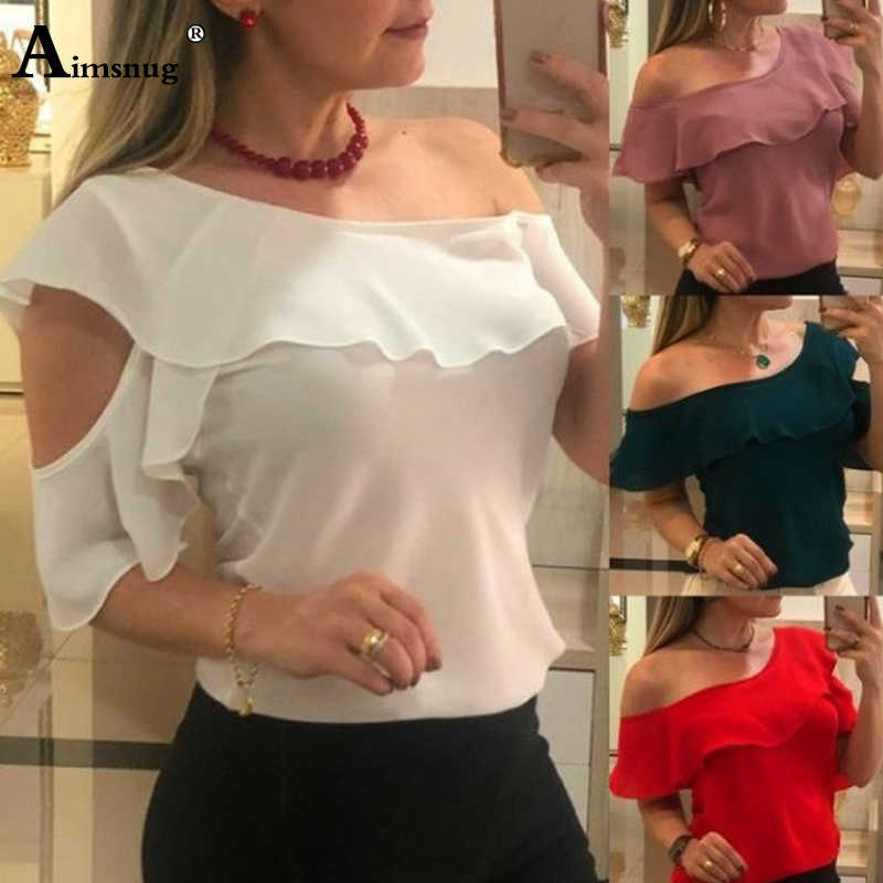 Plus size 4xl 5xl 2019 Women Blouse Hollow Irregular Off Shoulder Ladies Blouses White Skew Collar Ruffles Casual Femme Tops