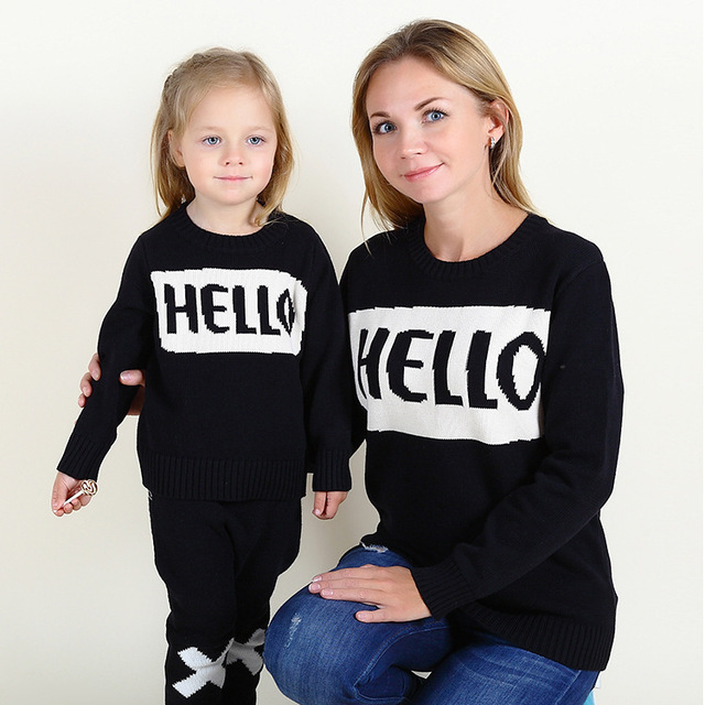 2016 boys and girls baby sweater HELLO hedging letter sweater Family fitted Western style wild