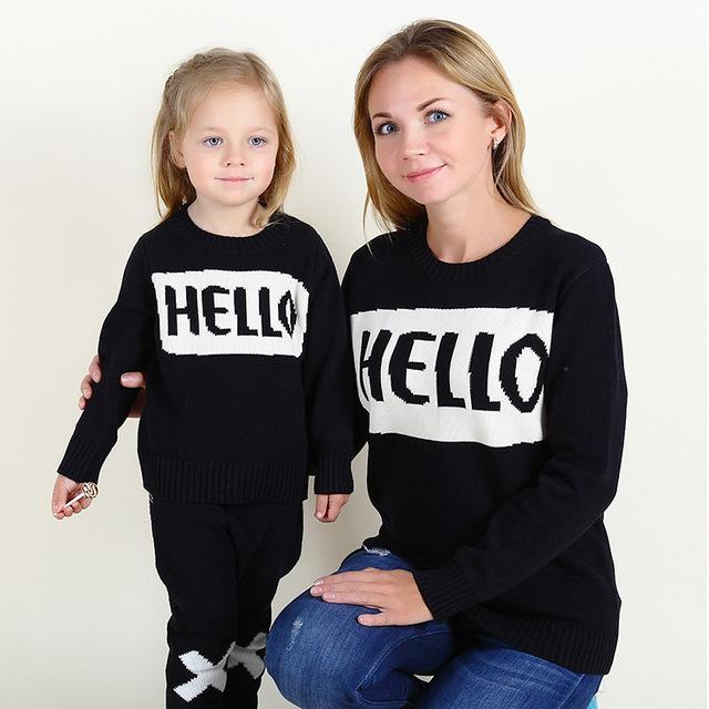2016 meninos e meninas do bebê camisola OLÁ hedging camisola carta Família equipado estilo Ocidental selvagem
