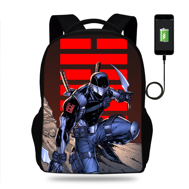 2dc3cd12b03a Casual Snake Eyes And Storm Shadow Design Backpacks Usb Charge Student  Bookbag High School Daily Backpack