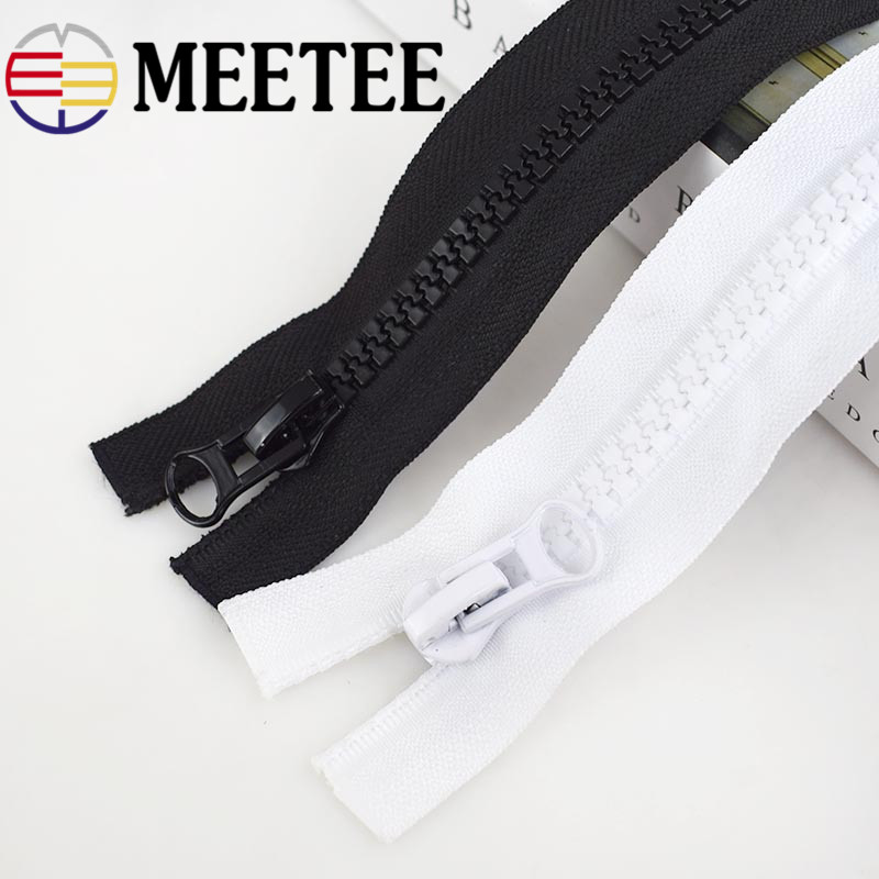 Meetee 5# 60-300cm Plastic Resin Zipper Black White Double Slider Open End Zip for DIY Sewing Coat Clothing Tent Accessories
