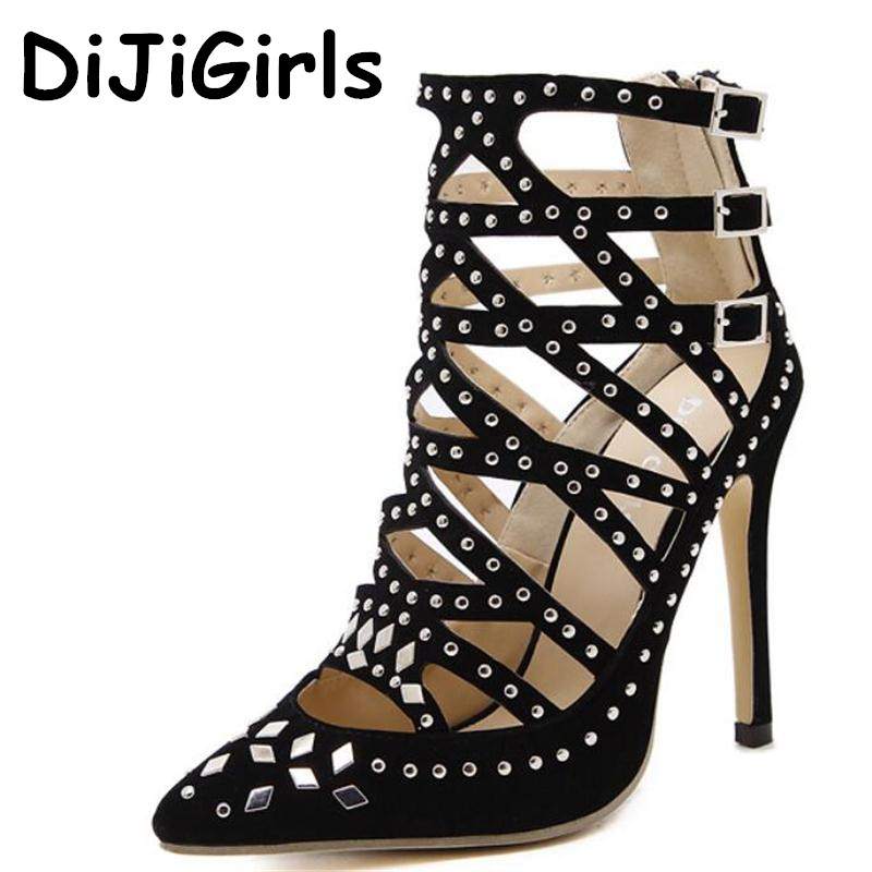 Roman Style Summer Sandals Women Rivets high-heeled Shoes Sexy Cut Out Stiletto Pumps Woman Punk Boots Spikes Ankle Boots Party fast shipping 2pk 74 75 xl ink cartridge for hp 74 xl 75 xl ink cartridge with 100% defective replacement