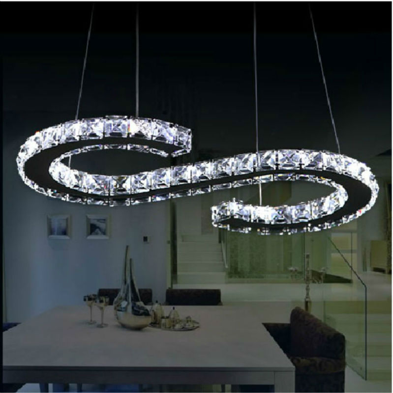 Free Shipping New Design Led Crystal Chandelier Lighting S Shape Stainless Steel Base Large Luxury Modern Cord Pendant Lamp