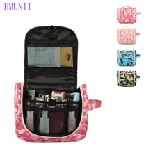 HMUNII New High Capacity Woman Travel Waterproof Handbag Makeup Bag Camouflage Pattern Portable Cosmetic Storage Bag Organizer
