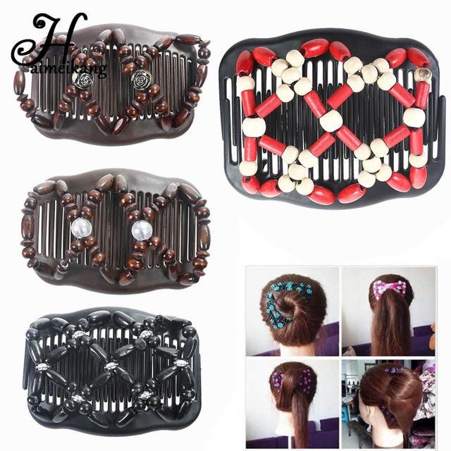 Haimeikang Retro Double Beaded Hair Magic Comb Clip Beads Elasticity Hairpin Stretchy Hair Combs Pins for Women Hair Accessories