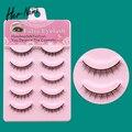 HERNAME natural short false eyelashes hot sale new fashion 100% makeup tools handmade glue for eyelash 5 pairs fake eye flash