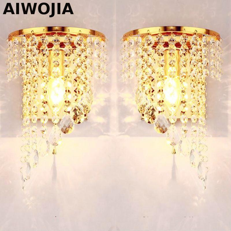 Left Right A Pair Of Light Chrome Silver Wall Lamp Sconce Gold Foyer Living Bedroom Bedside Wall Lamp Light Sconce Crystal недорго, оригинальная цена