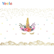 Yeele Unicorn Bedhead Cartoon Fallen Glitter Waves Photography Backdrops Personalized Photographic Backgrounds For Photo Studio