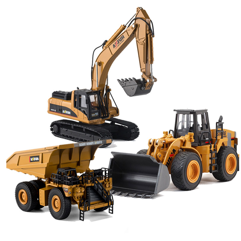HUINA 1 40 Dump Truck Excavator Wheel Loader Diecast Metal Model Construction Vehicle Toys for Boys