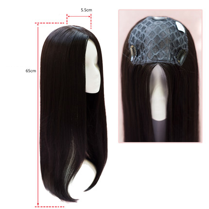 55cm Mono Lace Hair Toupee Skin Real Hair Topper Long Women's Hairpieces Party Accessory Straight Hair Replacement Clip Closure