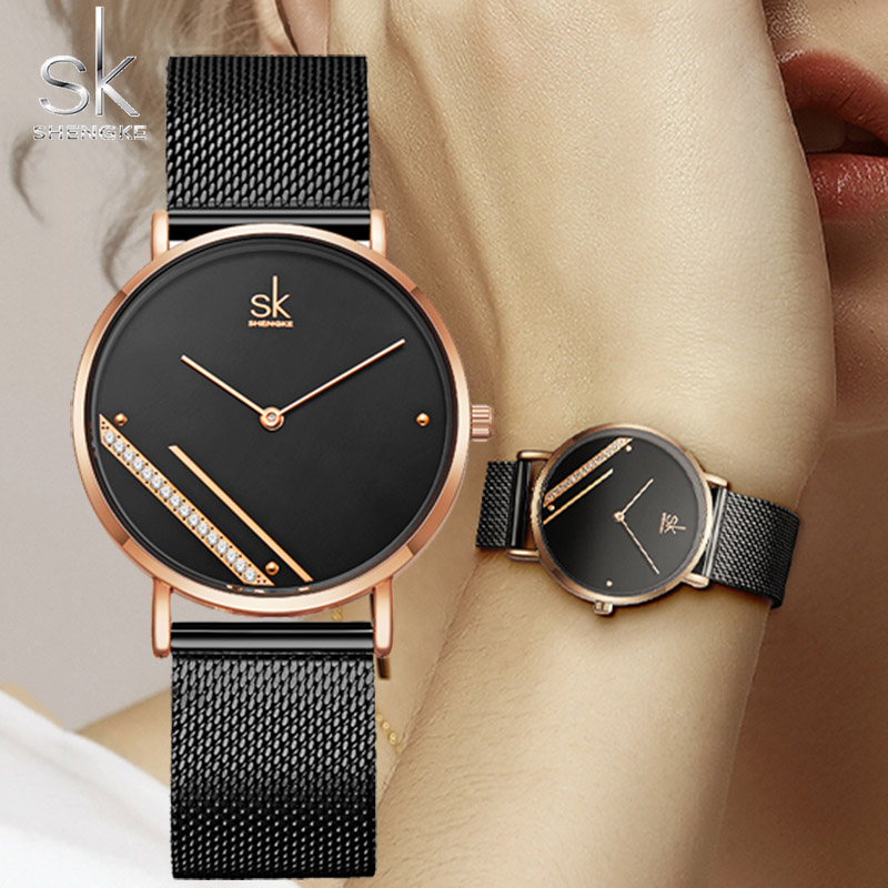 SK Fashion Ultra Thin Women Quartz Watch Ladies Wrist Watch SHENGKE Luxury Brand Female Clock Steel Watches For relogio feminino|Women's Watches| |  - title=