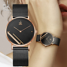 SK Fashion Ultra Thin Women Quartz Watch Ladies Wrist Watch SHENGKE Luxury Brand Female Clock Steel Watches For relogio feminino brand women watch fashion leather thin belt quartz watch ladies luxury bracelet watches female clock relogio feminino joyl