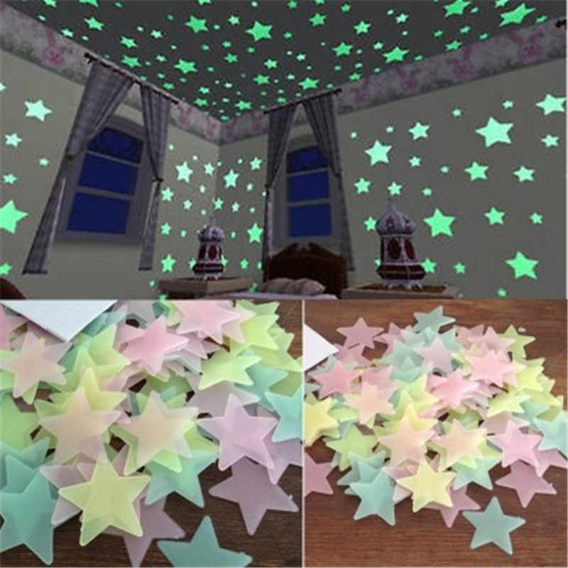 100 ชิ้น 3D เพดานเรืองแสงดาวสติ๊กเกอร์ติดผนังสติ๊กเกอร์ตกแต่งบ้านวอลล์เปเปอร์ตกแต่งเทศกาลพิเศษ glow in dark