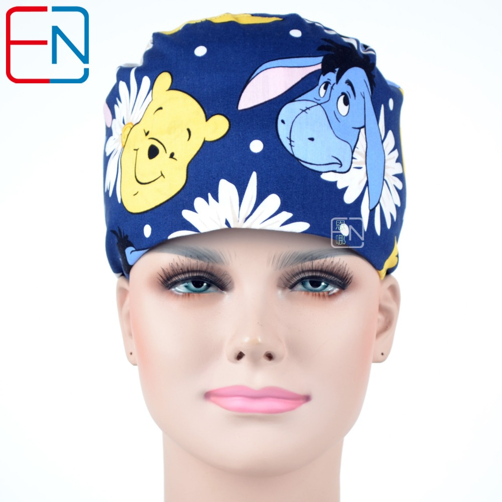 Hennar 100% Cotton Scrub Caps Men Women Blue Cartoon Printed Hat Masks Clinic Hospital Dental Cotton Surgical Caps Masks Unisex