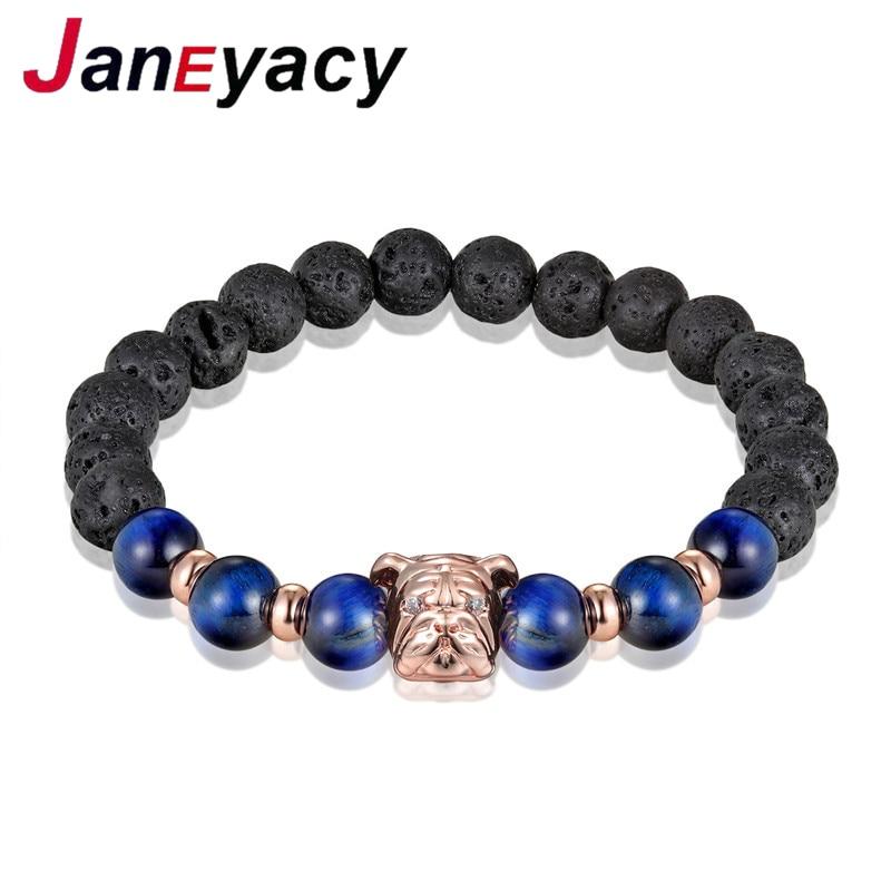 2018 Dog Year Fashion Dog Bracelet Men Lava Beads Natural Stone Elasticity Bracelet Bracelet Fashion Jewelry pulsera hombres