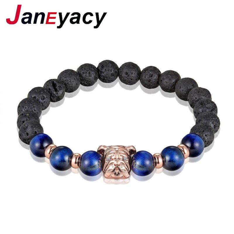 Купить 2018 год модный браслет с собакой мужской из лавовых бусин эластичный