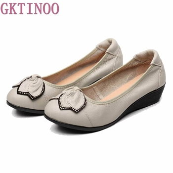 Genuine Leather Women High Heels Handmade Fashion shoes high heel Black Slip on Casual Wedges Pumps - discount item  30% OFF Women's Shoes