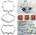 3pcs Plaque Cutter Cookies Frame Cake Oval Square Rectangle Fancy Stainless Mold HG-569