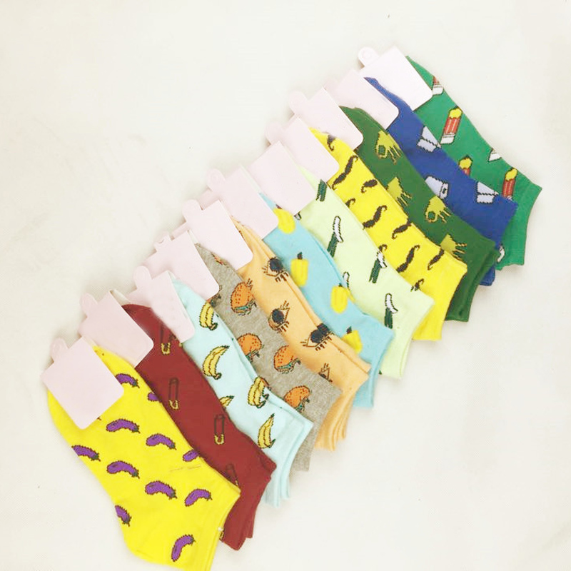 Fashion 1 Pair 11 Colors Men Women Cotton Fun Fruit Short   Socks   Couple   Socks   Children   Socks