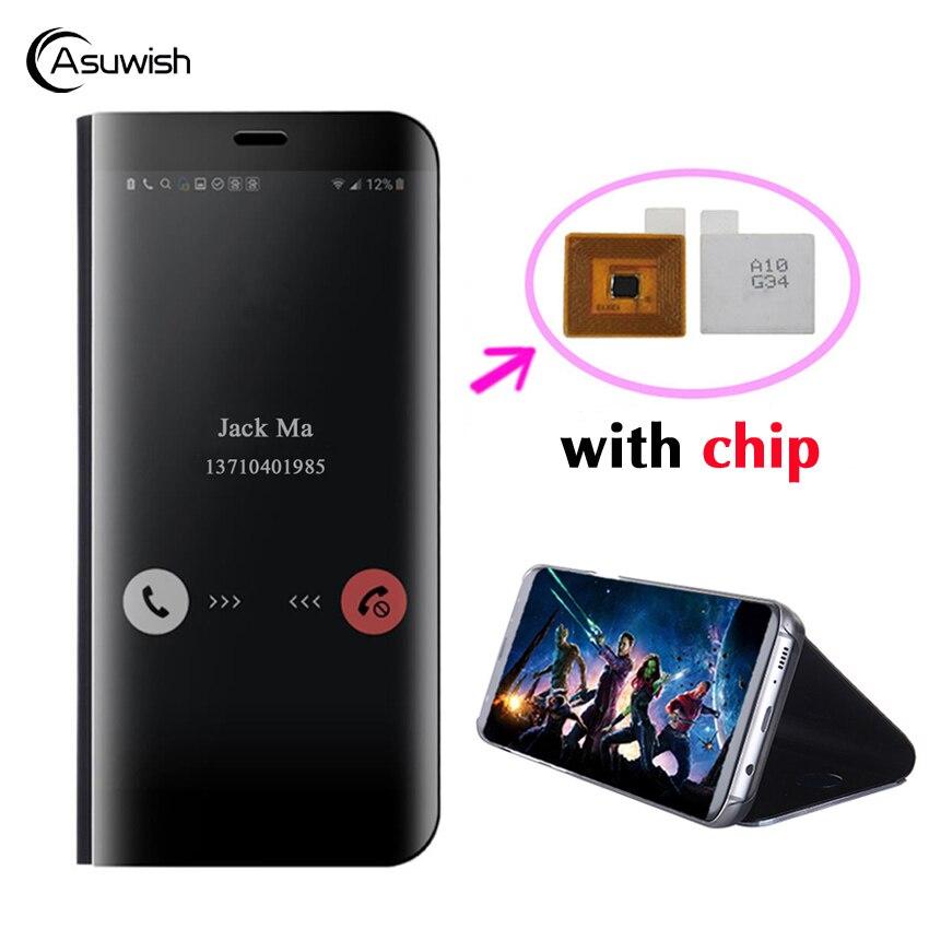 Asuwish Flip-Cover Ledertasche Für Samsung Galaxy S8 Plus S9 Plus Hinweis 8 S8 Note8 S 9 8 Telefon Fall Smart Chip Clear View Abdeckung