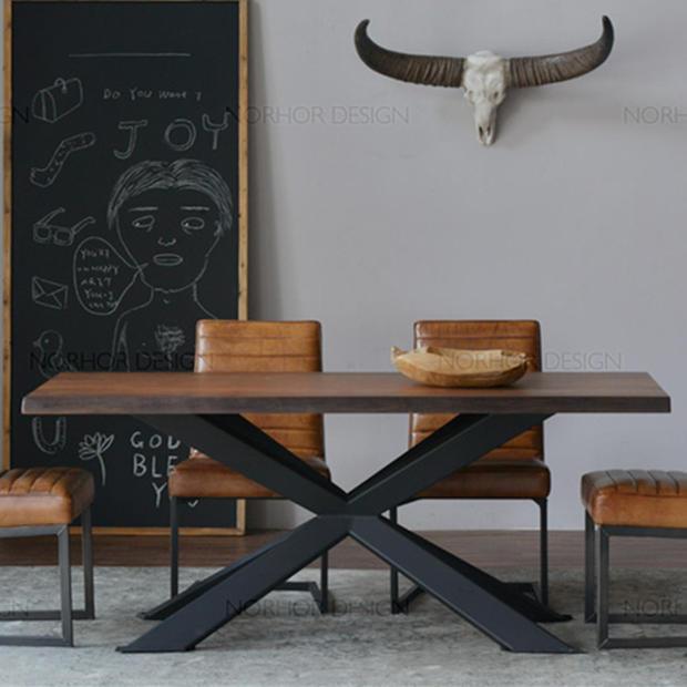 American vintage mesas de comedor de madera mesa de for Mesas de hierro forjado y madera