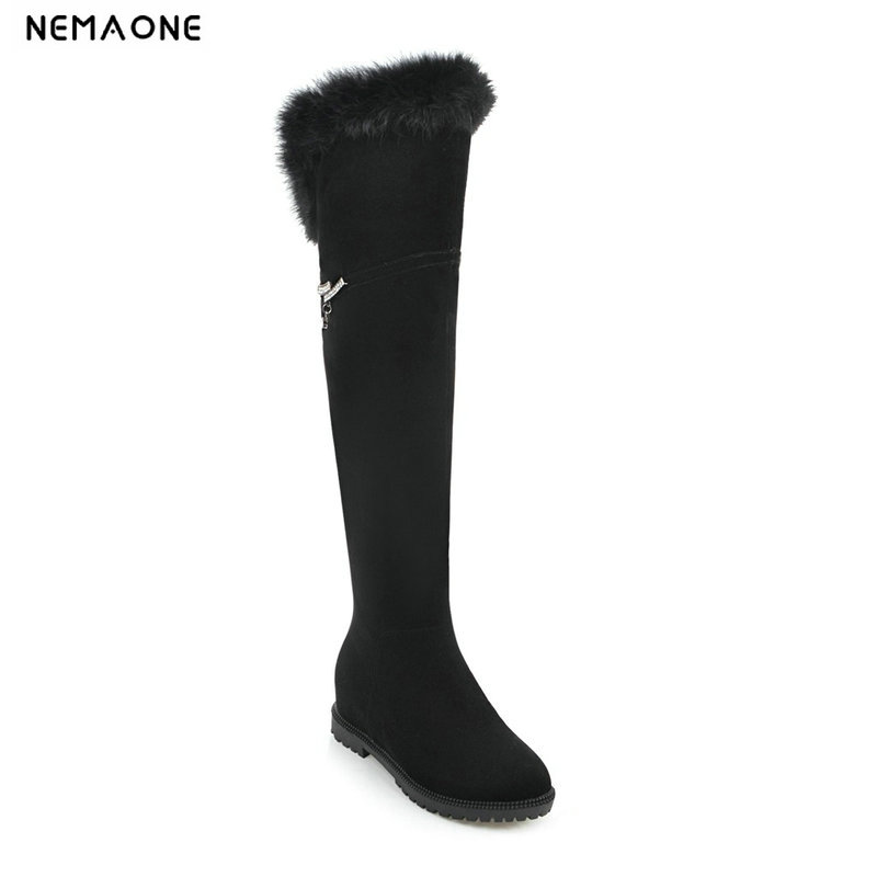 NEMAONE women low heels over the knee high boots winter warm snow boots woman sexy flat Ladies shoes black large size 43 new sexy women boots winter over the knee high boots party dress boots woman high heels snow boots women shoes large size 34 43