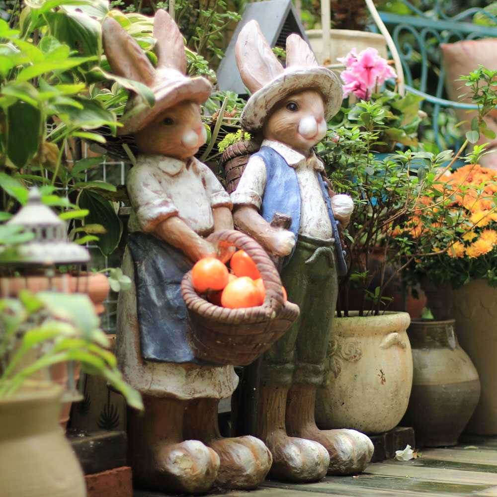 Vintage Creative Resin Rabbits Figurine Home Decor Crafts Room Decoration Objects Outdoor Villa Garden Rabbits Animal Statue