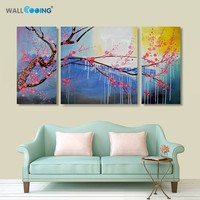 100% hand painted canvas painting Modern abstract sunrise cherry tree oil painting flowers living room modular paintings on the