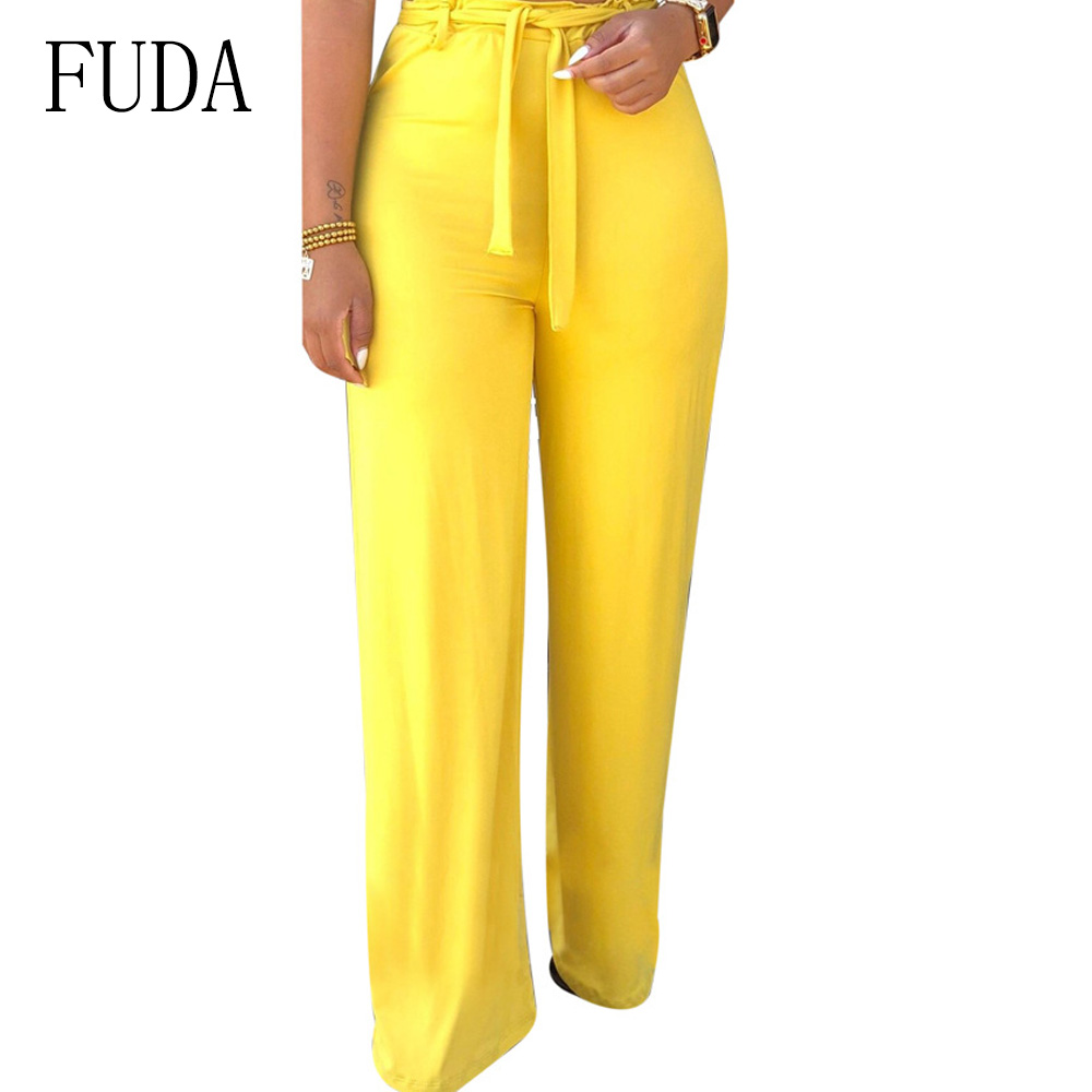 Fuda Fashion Red Women Solid Wide Leg Pants High Waist Full Length Flare Pants & Capris Workwear Elastic Trousers Pantalon Femme
