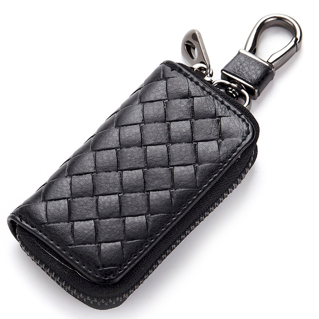 Genuine Leather Key Holder Knitting Car Key Wallets Men Keys Organizer Women Keychain Zipper Key Case Housekeeper Portable Purse