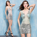 Sheath Sexy Short Prom Dresses Beading Gold Beaded Sheer See Through Crystal Sequin Long Sleeve Cocktail Dress cocktail mekko