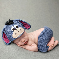 Knitting Soft Hat Pants Set Baby Clothing Cute Animal Newborn Photography Prop Cap Infant Hand Crochet