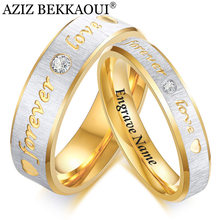 AZIZ BEKKAOUI Forever Love CZ Wedding Band Engagement Rings for Couples Women Men 316l Stainless Steel Lovers Personalized Gift(China)