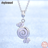 Top Quality Purple Enamel Sweet Candy Chain Necklace Fashion 925 Sterling Silver Lovely Candy Pendant Necklaces For Women