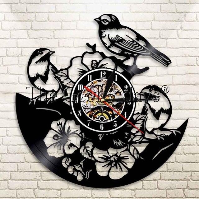 1 Handcarved Chim Hình Bóng Phông Ghi Đồng Hồ Sparrow trên Đồng Hồ Treo Tường Cây Chim Người Yêu Tặng Động Vật Hiện Đại Tường Nghệ Thuật