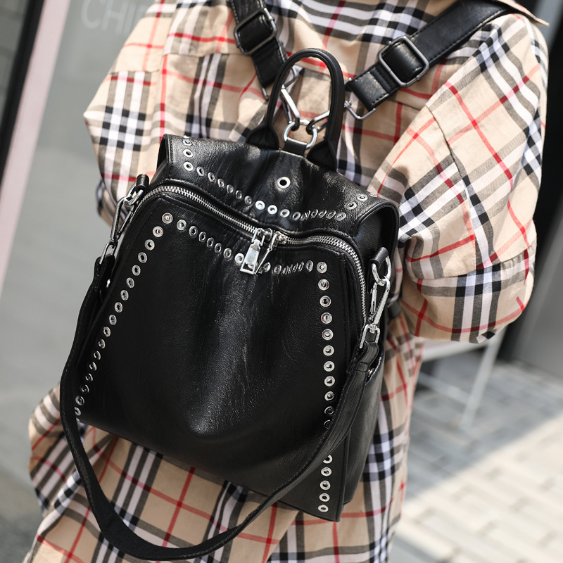 QINRANGUIO Leather Backpack Women School Bags for Teenage Girls 2019 New Fashion Large Capacity PU Leather QINRANGUIO Leather Backpack Women School Bags for Teenage Girls 2019 New Fashion Large Capacity PU Leather Black Women Backpack