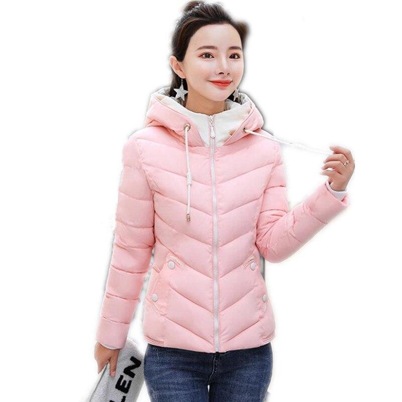 2019New Fashion Candy Colors Autumn Winter Women Short   Parkas   Female Down Cotton Jacket Hooded Slim Winter Jacket Women Top Q766