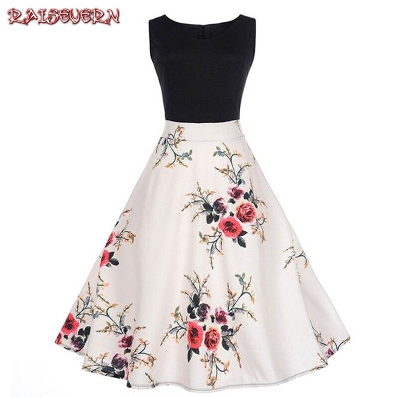 RAISEVERN Women Summer Dress 2018 Contrast Color 3D Floral Robe Retro Swing Casual 50s Vintage Rockabilly Dresses Vestidos Jupe
