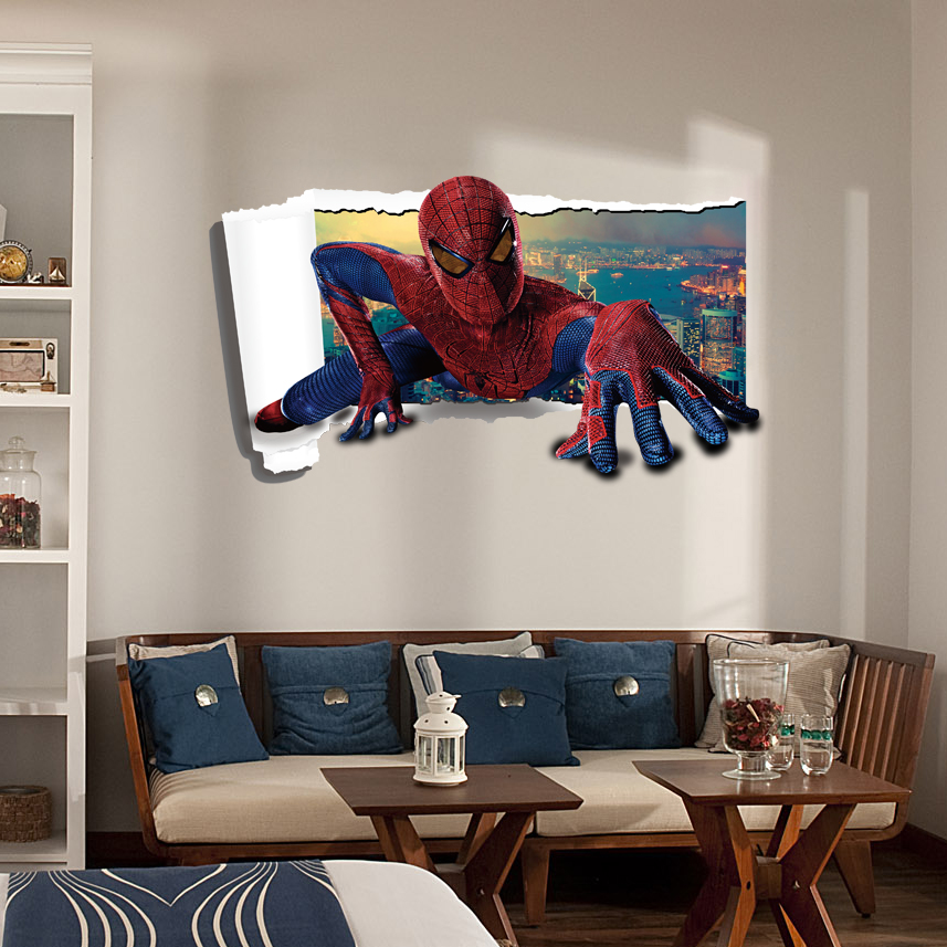 Spiderman wall stickers 3d stereoscopic stickers nursery - Wall sticker ideas for living room ...