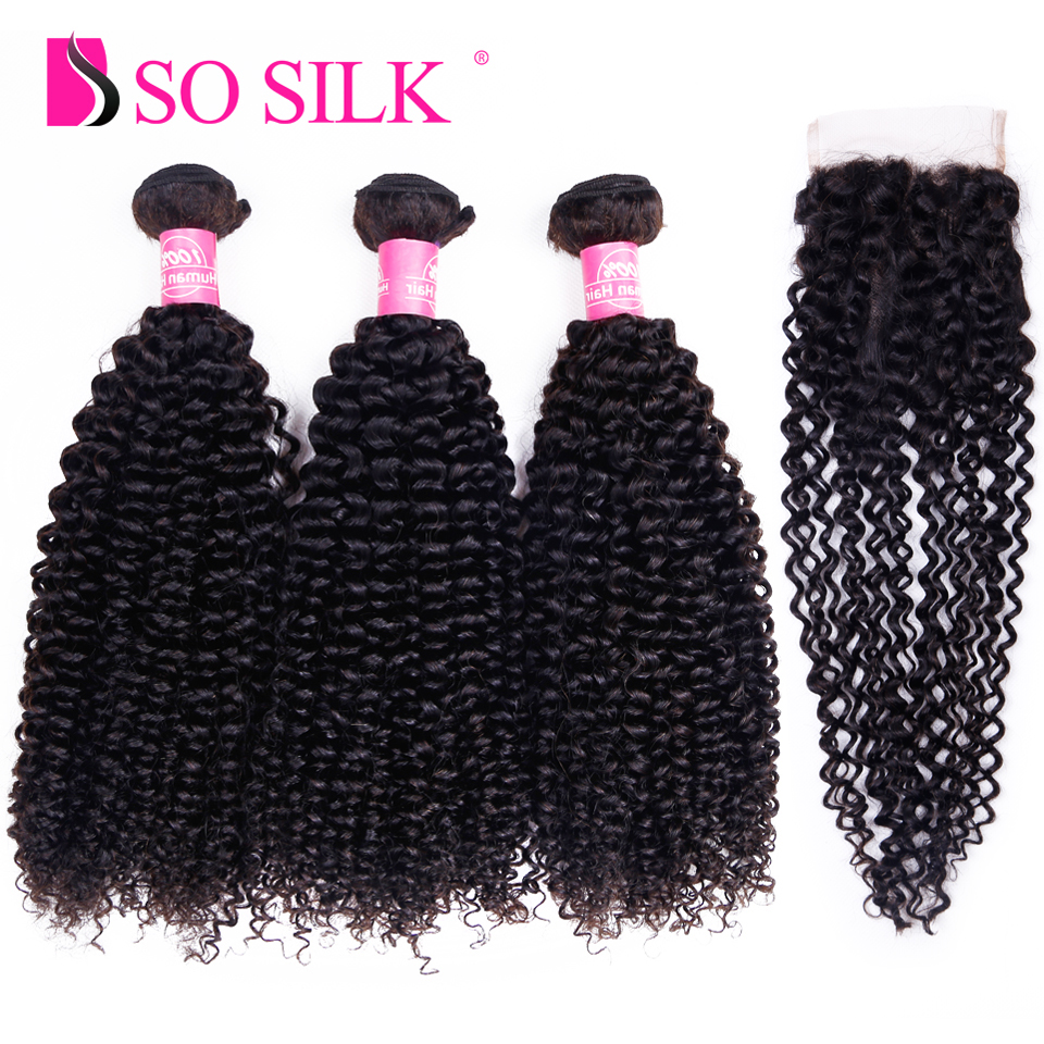So Silk Peruvian Hair with Closure Kinky Curly 3 Bundles with Closure Three Part Closure with Weave Human Hair Bundles Non-Remy