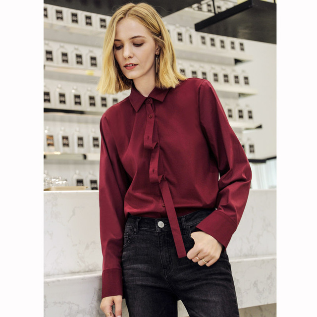 Amii Minimalist Women 2019 Autumn Blouse Chic Elagent Office Lady Detachable Collar Long Sleeve Female Blouses Shirts