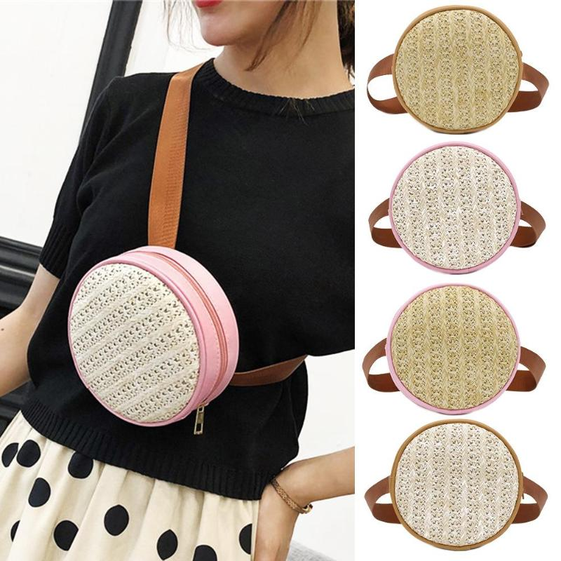 Small Straw Shoulder Bag Women Waist Fanny Belt Packs Leather Round Chest Bags
