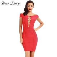 Deer Lady Black Bandage Dress 2017Summer Red Lace Up Dress Women Sexy Bodycon Off The Shoulder Dress Bandages HL
