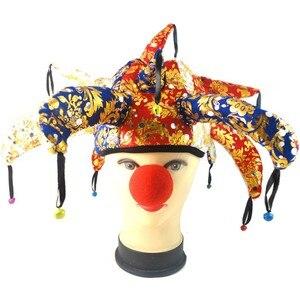 Suministros de fiesta, sombrero de payaso con campana, decoración de Halloween, tocado, disfraz divertido, bola, Cosplay, sombrero de bufón artesanal, tiaras