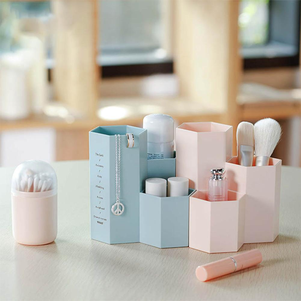 Hexagonal Makeup Brush Storage Holder Jewelry Makeup Brushes Storage Box Tube Simple Plastic Desktop Home Organizer Case