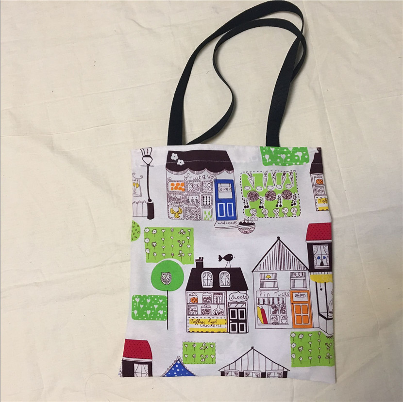 Unique Canvas Eco Shopping Tote Shoulder Bag Colored House Flower Bird Tree L8516-4