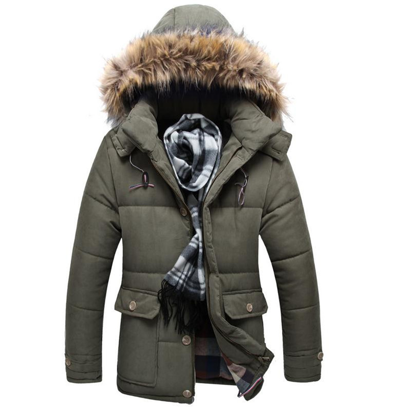 Blue La Lourds À rembourré Hiver Coton sky Vêtements army Manteau Jeunes Green Cheveux Mode Nouvelle Blue Parka Décoration Poche Casual Capuche dark Black Slim Veste Fit Collier B67wdXqxn