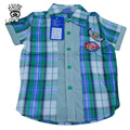 XIAOYOUYU Size 100-140 2016 Summer Boys Casual Plaid Shirts New High Quality Short Sleeve Children Fashion Cotton Clothings