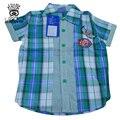 XIAOYOUYU Tamaño 100-140 2016 Muchachos del Verano de la Tela Escocesa Ocasional Camisas Nuevos Niños Ropas de Algodón de Moda de Manga Corta de Alta Calidad